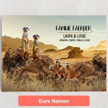 Personalisiertes Leinwandbild Erdmännchen-Familie
