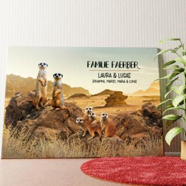 Personalisiertes Wandbild Erdmännchen-Familie