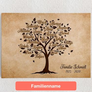 Personalisiertes Leinwandbild Familienbaum