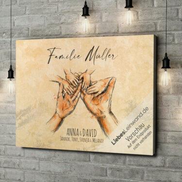 Leinwandbild personalisiert Familienhände