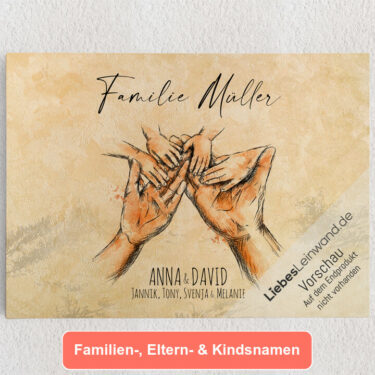 Personalisiertes Leinwandbild Familienhände