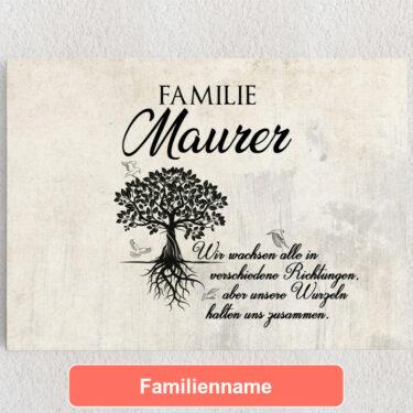 Personalisiertes Leinwandbild Family Tree