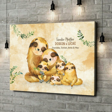 Leinwandbild personalisiert Faultierfamilie