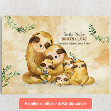 Personalisiertes Leinwandbild Faultierfamilie