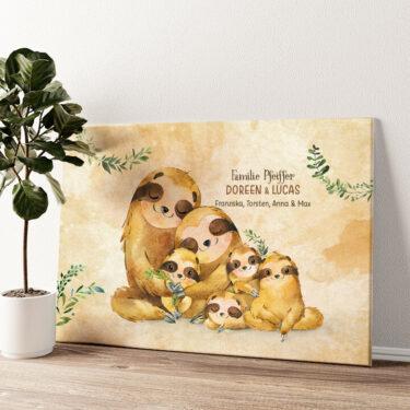 Faultierfamilie Wandbild personalisiert