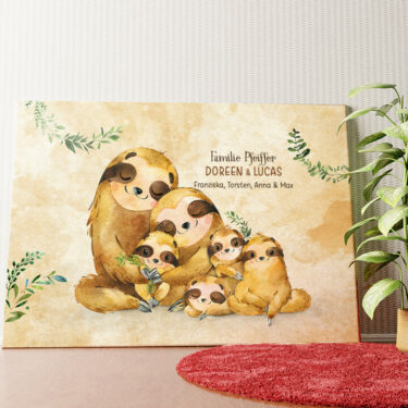 Personalisiertes Wandbild Faultierfamilie
