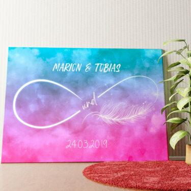 Personalisiertes Wandbild Federleichte Liebe