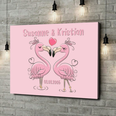 Leinwandbild personalisiert Flamingorama