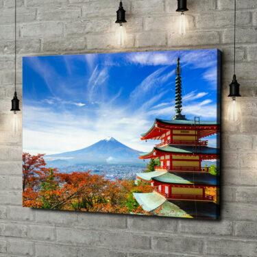 Leinwandbild personalisiert Fujiyoshida Pagode Japan