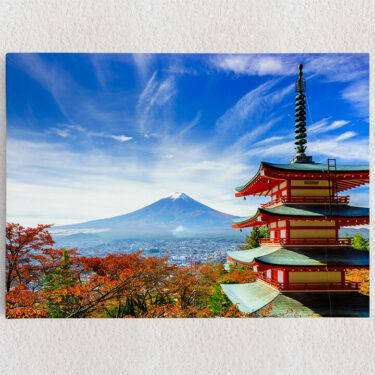 Personalisiertes Leinwandbild Fujiyoshida Pagode Japan