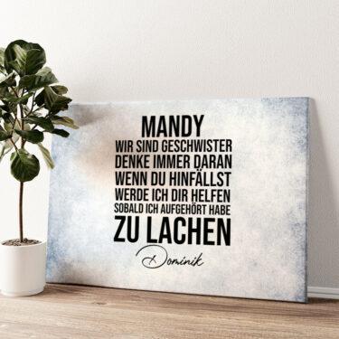Geschwisterliebe Wandbild personalisiert