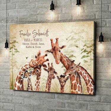 Leinwandbild personalisiert Giraffenfamilie