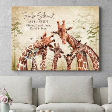 Personalisierbares Geschenk Giraffenfamilie