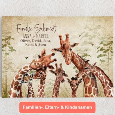 Personalisiertes Leinwandbild Giraffenfamilie