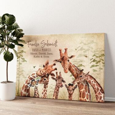 Giraffenfamilie Wandbild personalisiert