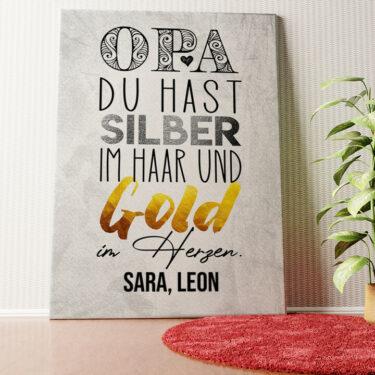 Personalisiertes Wandbild Gold im Herzen für Opa