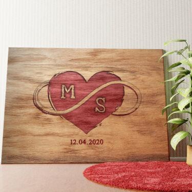 Personalisiertes Wandbild Graviertes Herz