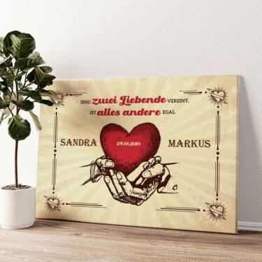 Hände der Liebe Wandbild personalisiert