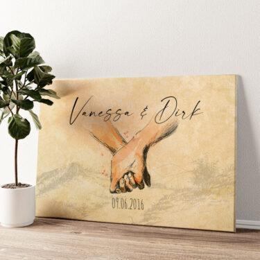 Hand in Hand Wandbild personalisiert