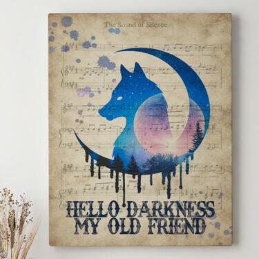 Leinwandbild personalisiert Hello Darkness My Old Friend