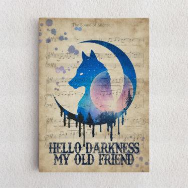 Personalisiertes Leinwandbild Hello Darkness My Old Friend