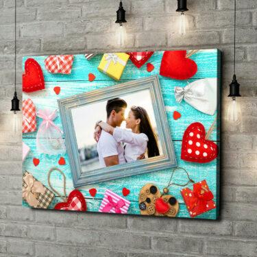 Leinwandbild personalisiert Hintergrund: Herz an Herz
