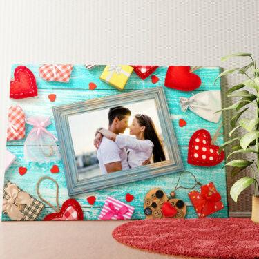 Personalisiertes Wandbild Hintergrund: Herz an Herz