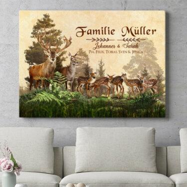 Personalisierbares Geschenk Hirschfamilie