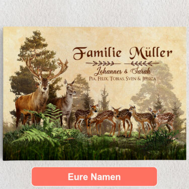Personalisiertes Leinwandbild Hirschfamilie