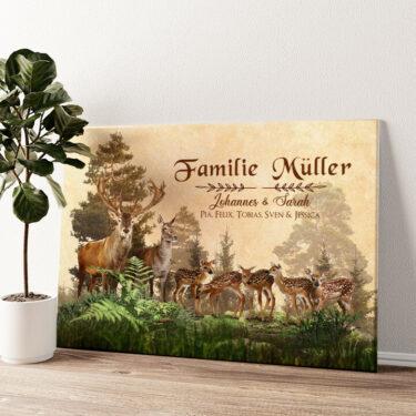 Hirschfamilie Wandbild personalisiert