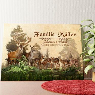 Personalisiertes Wandbild Hirschfamilie