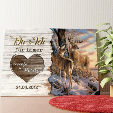 Personalisiertes Wandbild Hirschpaar
