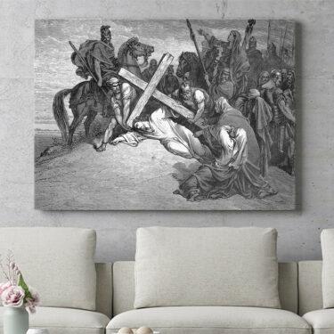 Personalisierbares Geschenk Jesus bricht unter dem Kreuz zusammen