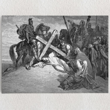 Personalisiertes Leinwandbild Jesus bricht unter dem Kreuz zusammen
