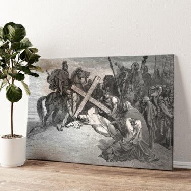 Jesus bricht unter dem Kreuz zusammen Wandbild personalisiert