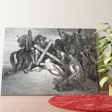 Personalisiertes Wandbild Jesus bricht unter dem Kreuz zusammen