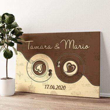 Kaffee für zwei Wandbild personalisiert