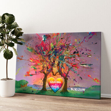 Kunterbunte Liebe Wandbild personalisiert