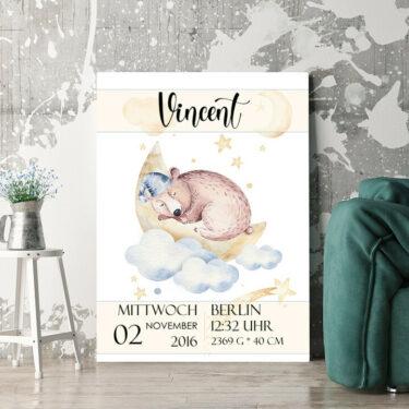 Personalisierbares Geschenk Leinwand zur Geburt Bär träumt