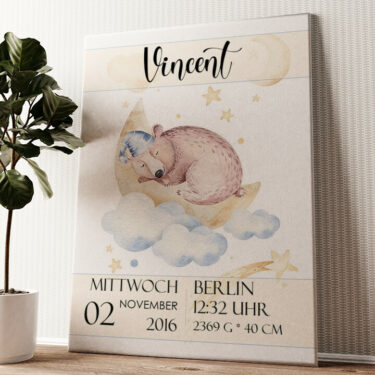 Leinwand zur Geburt Bär träumt Wandbild personalisiert