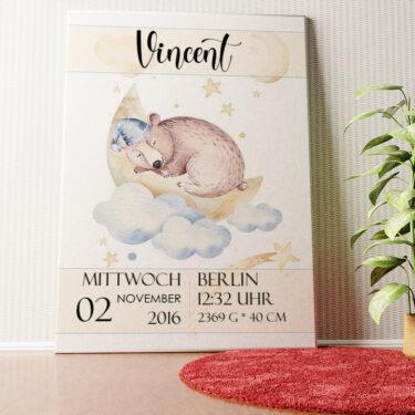 Personalisiertes Wandbild Leinwand zur Geburt Bär träumt