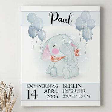 Leinwandbild personalisiert Leinwand zur Geburt Elefant