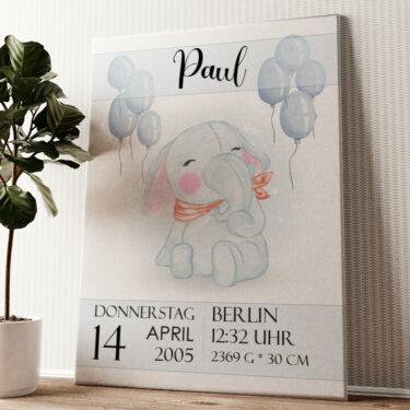 Leinwand zur Geburt Elefant Wandbild personalisiert