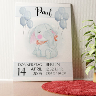 Personalisiertes Wandbild Leinwand zur Geburt Elefant