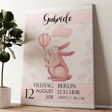 Leinwand zur Geburt Hase mit Ballon Wandbild personalisiert