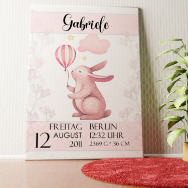 Personalisiertes Wandbild Leinwand zur Geburt Hase mit Ballon