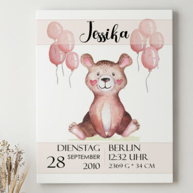 Leinwandbild personalisiert Leinwand zur Geburt Teddybär