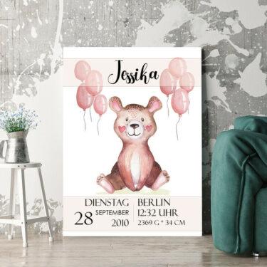 Personalisierbares Geschenk Leinwand zur Geburt Teddybär