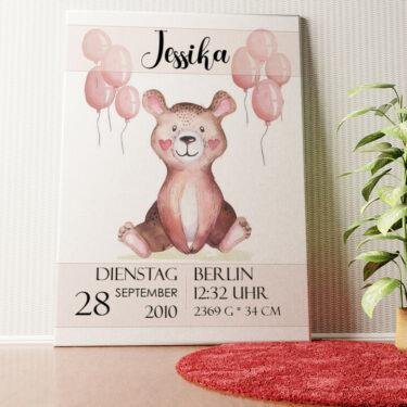 Personalisiertes Wandbild Leinwand zur Geburt Teddybär