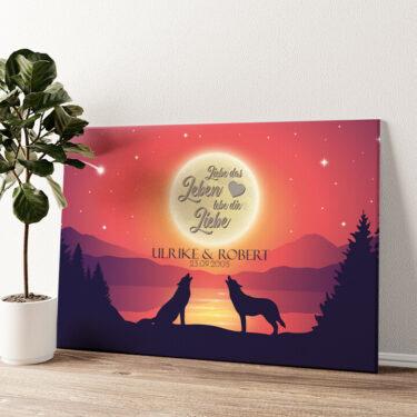 Liebe im Mondschein Wandbild personalisiert